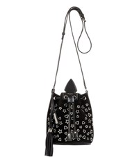 Saint Laurent Anja Suede Embellished Bucket Bag Black