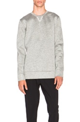 Helmut Lang Sponge Fleece Tape Detail Crewneck Sweatshirt In Gray