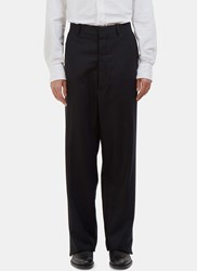 Thom Browne Distressed Satin Seamed Wide Leg Pants Black
