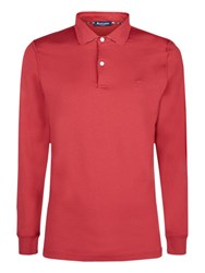 Aquascutum London Kendrick Long Sleeve Polo Shirt Red