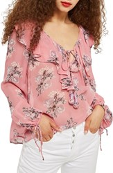 Topshop Floral Ruffle Pompom Blouse Pink Multi