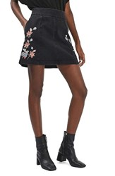 Topshop Women's Moto Embroidered Denim Skirt