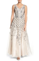 Adrianna Papell Women's V Neck Organza Gown