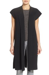 Women's Eileen Fisher Silk And Organic Cotton Knit Drape Front Long Vest Black