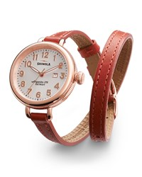 The 34Mm Birdy Rose Golden Double Wrap Watch Red Shinola