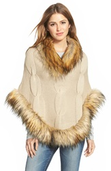 Linda Richards Cable Knit Wool Poncho With Faux Fur Trim Tan