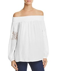 Mustard Seed Off The Shoulder Lace Trim Blouse White