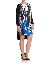 Julia Jordan Plus Printed Chiffon Trim Dress Black White Blue