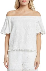Willow And Clay Off The Shoulder Eyelet Top Vellum
