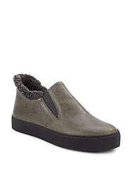 Stuart Weitzman Leather And Sheared Lamb Slip On Sneakers Olive