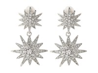 Kenneth Jay Lane Rhodium And Rhinestone Starburst Drop Clip Earrings Siver Crystal Earring Silver