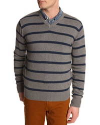 Menlook Label Grey V Neck Sweater With Blue Stripes