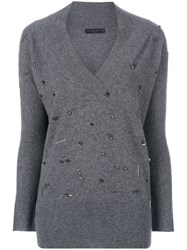 Fabiana Filippi V Neck Pullover With Beads Cashmere Grey