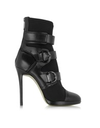 Pinko Austin Black Leather And Fabric Ankle Bootie