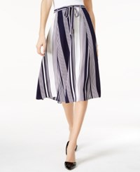 Ny Collection Belted Striped Skirt Navy White
