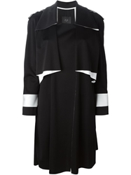 Ilja Draped Trench Style Coat Black