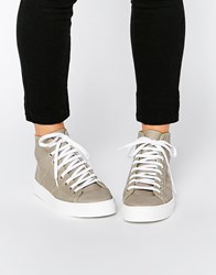Park Lane Perf Leather High Top Trainers Greyperfleather
