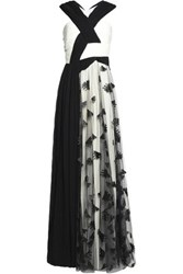 Vionnet Embroidered Tulle And Pleated Chiffon Gown Black