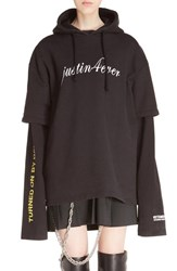 Vetements Women's 'Justin4ever' Double Sleeve Graphic Hoodie Dress