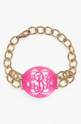 Women's Moon And Lola 'Annabel' Medium Oval Personalized Monogram Bracelet Hot Pink Gold Nordstrom Exclusive