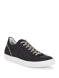 Saks Fifth Avenue Made In Italy Flannel Top Sneakers Grey