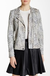 Rebecca Taylor Ombre Leopard Print Leather Jacket Multi