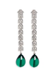 Kenneth Jay Lane Pear Drop Glass Crystal Pave Chain Earrings Green