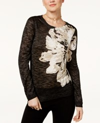 Inc International Concepts Floral Print Sweater Only At Macy's Deep Black