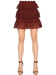 Self Portrait Tiered Scalloped Lace Mini Skirt