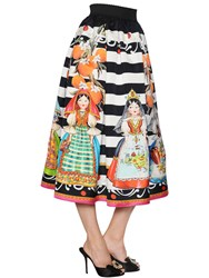Dolce And Gabbana Printed Striped Organza Midi Skirt