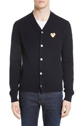 Comme Des Garcons Men's Gold Heart Patch Wool Cardigan