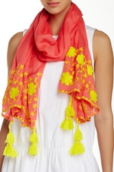 Michael Stars Floral Stitchings Scarf Pink