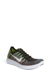 Nike Men's 'Free Run Flyknit' Running Shoe Black White Volt Lagoon
