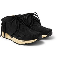 Visvim Fbt Prime Runner Suede And Mesh Sneakers Black
