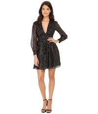 Jill Stuart Short Deep V Long Sleeve Clip Dot Dress Black Silver Women's Dress