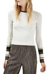 Topshop Women's Stripe Cuff Crop Top