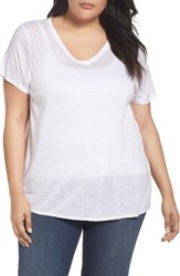 Sejour Plus Size Women's Slub Knit Tee White