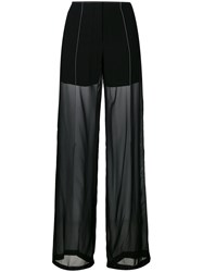 Dkny Sheer Relaxed Trousers Women Polyester Viscose 4 Black