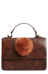 Muche Et Muchette Eleanor Faux Leather Satchel With Faux Fur Pom Brown