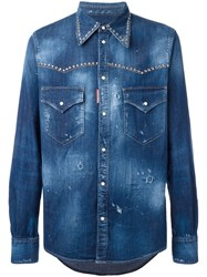 Dsquared2 Studded Distressed Western Shirt Blue