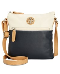 Giani Bernini Colorblock Leather Crossbody Created For Macy's Ivory Navy
