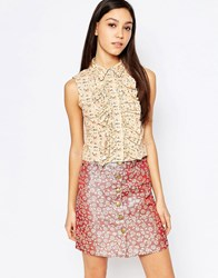 Sister Jane Betsey Blouse With Ruffle Front Multi