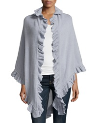 Minnie Rose Cashmere Ruffle Trim Shawl Fonce Gris
