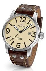Tw Steel Men's Maverick Automatic Leather Strap Watch 48Mm Chocolate Cream Silver
