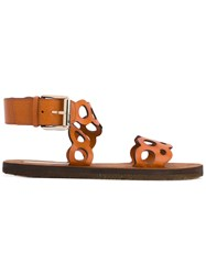 Stella Mccartney Hoop Strap Sandals Women Artificial Leather Rubber 40 Brown