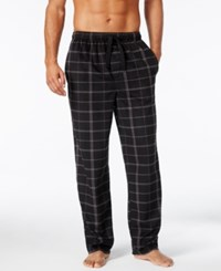 Perry Ellis Men's Open Grid Fleece Pajama Pants Black Gray