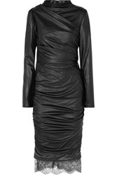 Tom Ford Lace Trimmed Cutout Ruched Faux Leather Dress Black
