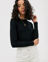 Weekday Fine Ribbed Long Sleeves T Shirt In Black