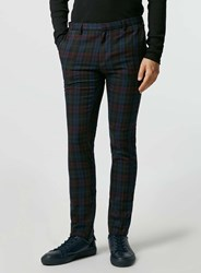 Topman Burgundy Check Ultra Skinny Fit Trousers Multi