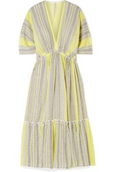 Lemlem Amira Tiered Striped Cotton Blend Gauze Midi Dress Yellow